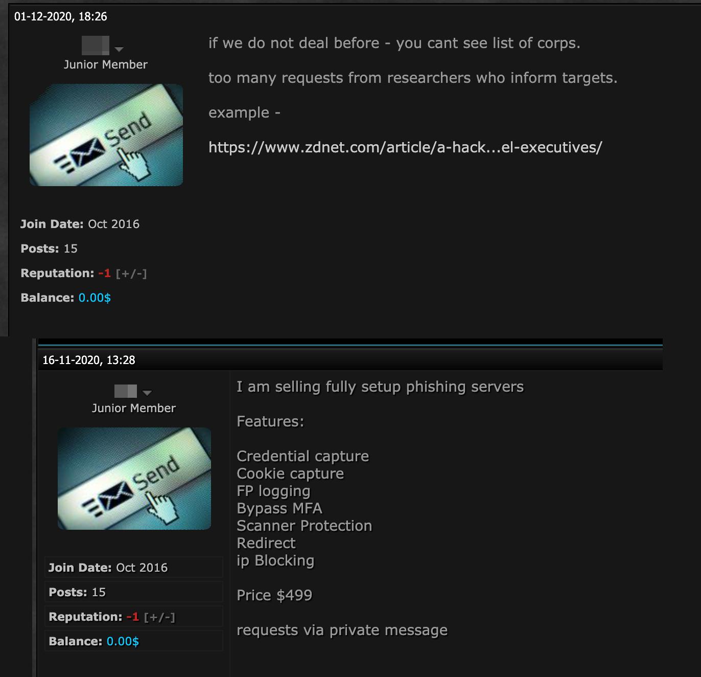 図17:商品取引についての条件を掲載するアンダーグラウンドで活動する販売者(上)と、フィッシングキットを販売する別の投稿(下)