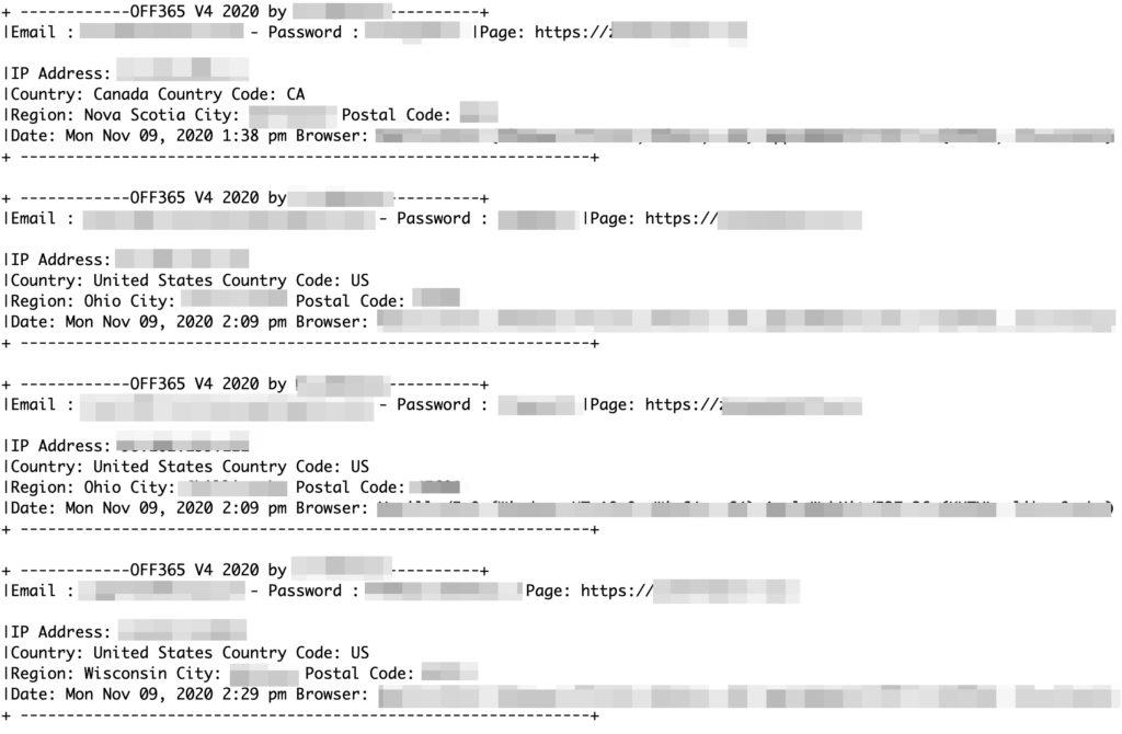 図4:設定が適切でなかったため確認することができたログファイルには、メール受信者が誘導されたフィッシングサイトおよびその個人を特定できる情報(電子メール、パスワード、都市名、システム情報など)が詳細に記されている