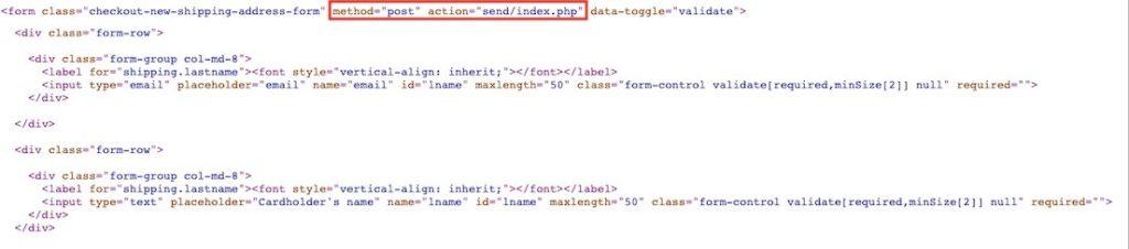 図:入力された情報がpost方式でsend-index.phpに送信されている-