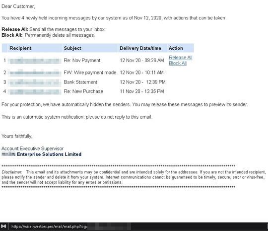 攻撃に使用されたフィッシングメール