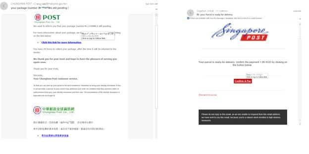 図2:各国の郵便サービスを偽装するフィッシングメールの例