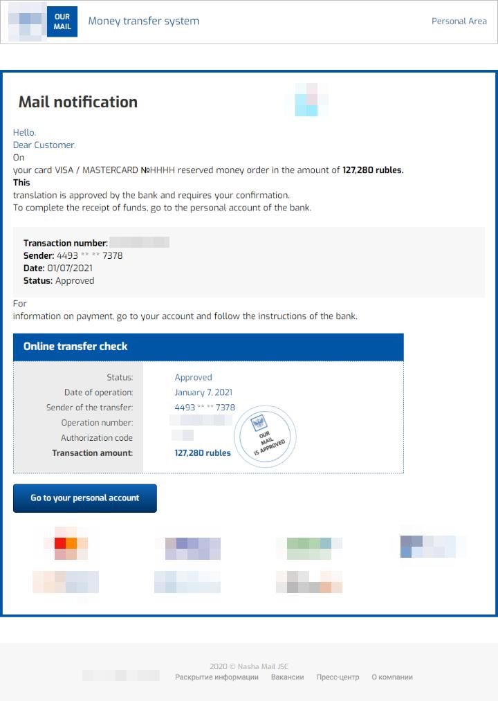 図4:この送金詐欺手口に用いられたフィッシングメールの一例