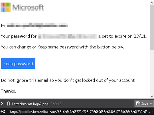 図9:偽のアカウントパスワード通知メール