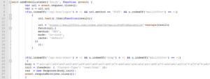 図11:認証情報を窃取して改変されたラッパーページを返すためのService Worker スクリプト