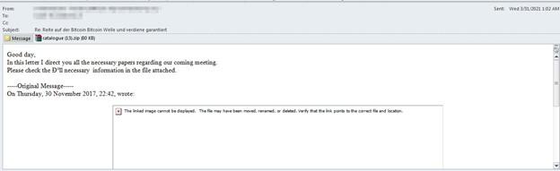図6:IcedIDの配布に使用されたスパムメールの例
