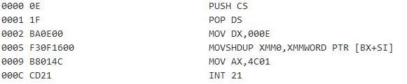 図10:改ざんされたDOSスタブ<br />(アドレス0005にはオフセットと復号鍵 ( f30f16 ) が含まれている)