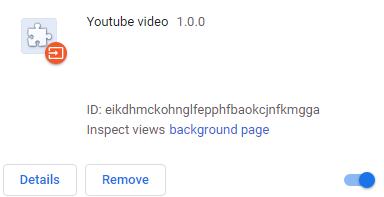 図18:「Youtube video」という名前の悪意のあるブラウザ拡張機能