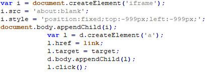 図31:画面外に空のiframeの作成(上)およびリンクの作成(下)を実行するためのコード