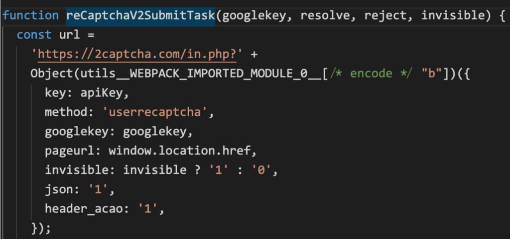 図6:JokerがGoogleのCAPTCHA認証を回避するための不正コード