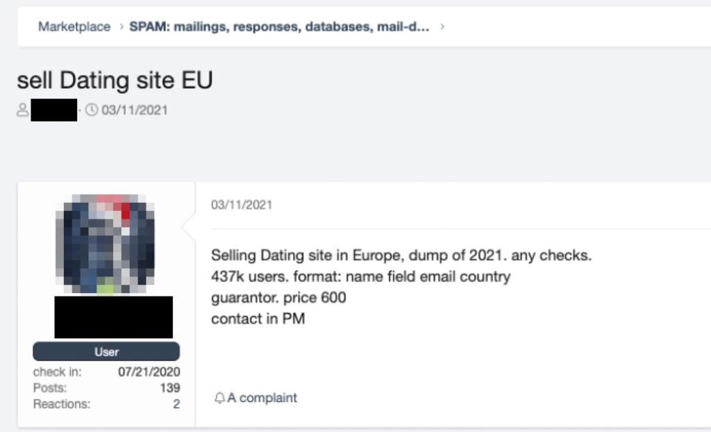 図15:侵害されたWebサイトの全データベースがアンダーグラウンドフォーラム上で販売されている様子