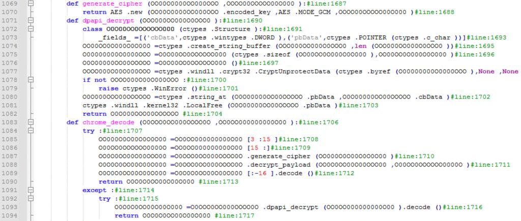 図23:AESあるいはDPAPIを用いてChromeのクッキーファイルを復号するための不正スクリプト