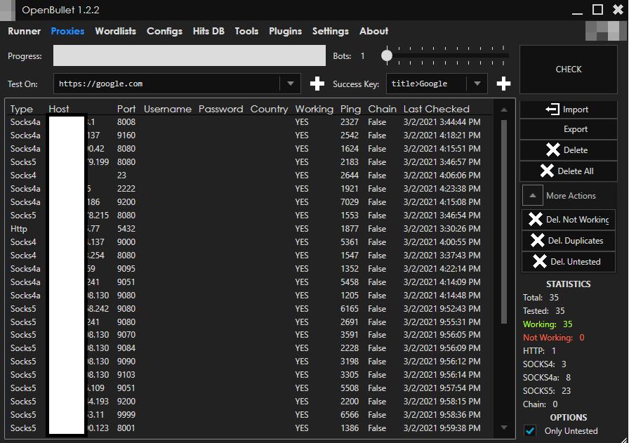 図4:OpenBulletのProxiesタブでは、さまざまなプロトコルやポート上で複数のプロキシが利用できる