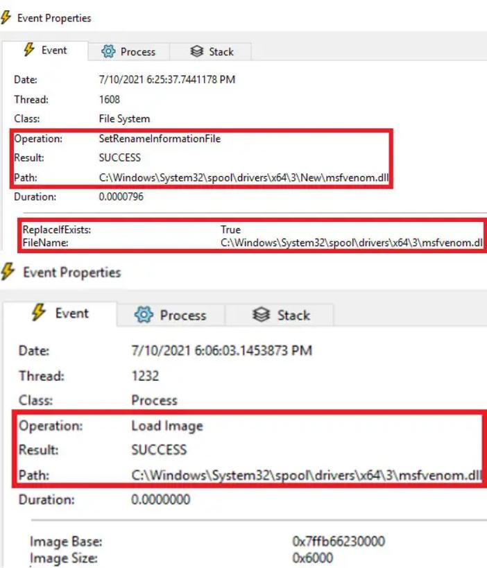 図9:ステージ1で観測されたDLLファイルが、プロセス「spoolsv.exe」内に読み込まれた時の様子
